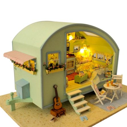 Miniature Wooden DIY Doll House with Furniture Kit