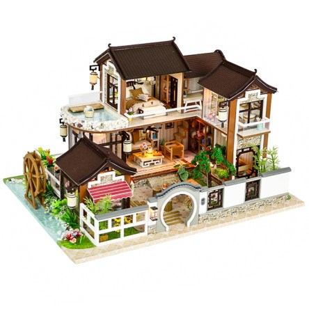 Luxury Miniature Wooden DIY Dollhouse with Furniture Kit