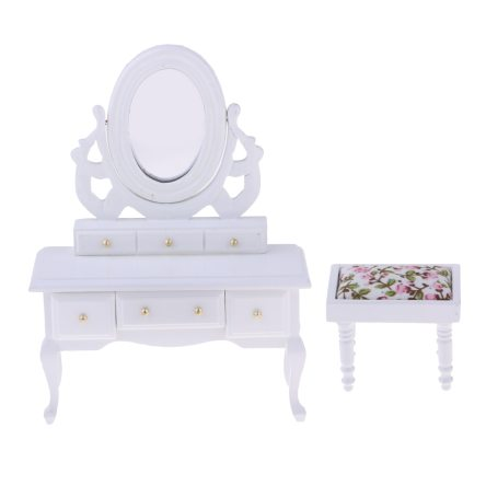 1/12 Scale Miniature Wooden Makeup Dressing Table with Makeup Stool for Dollhouse Dressing Room