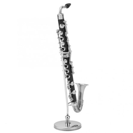 Miniature Bass Clarinet Musical Instrument Replica with Case