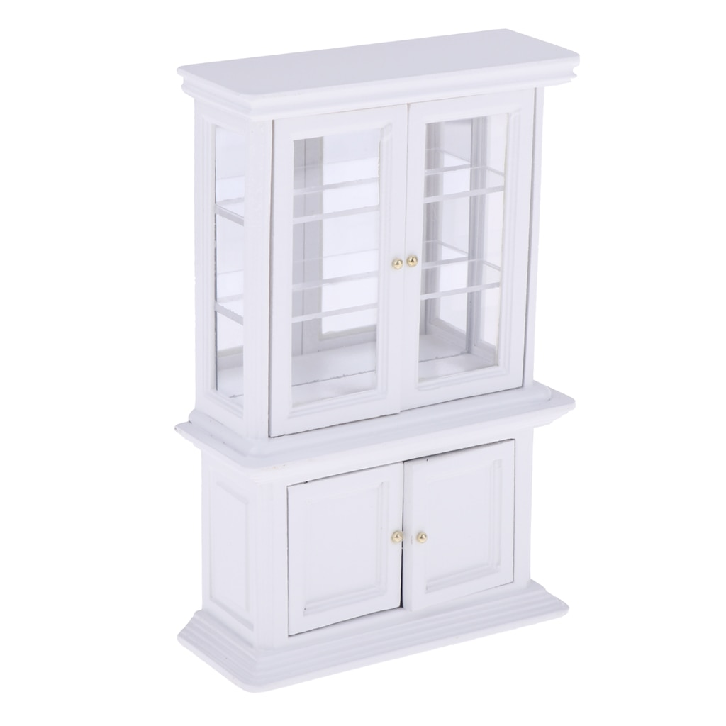 1:12 Dollhouse Miniature Kitchen Furniture White Cupboards Display cabinet  TBO