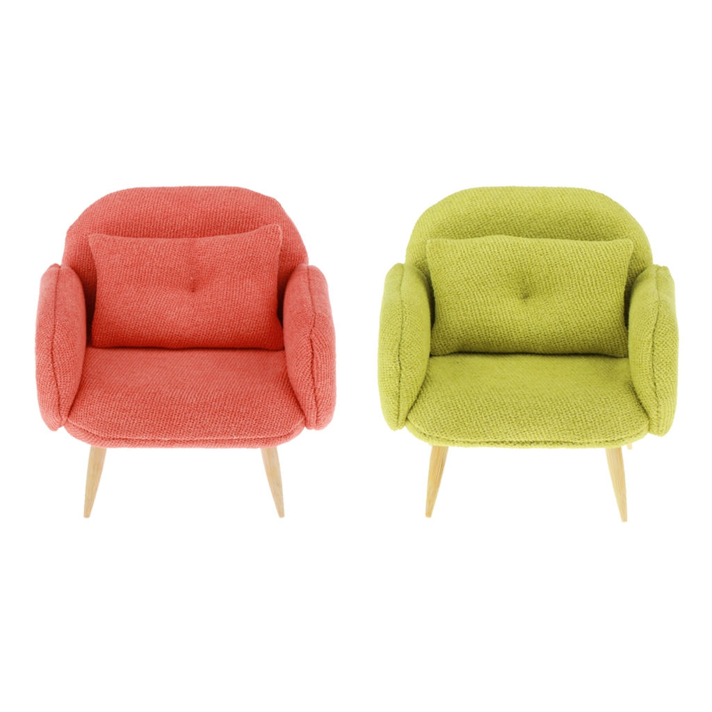 Green 1:12 Scale Dollhouse Miniature Furniture Cloth Double Sofa Chair Couch