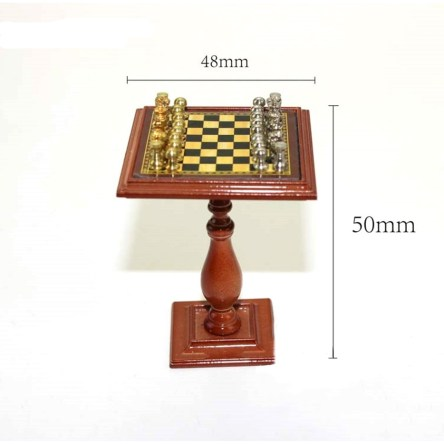 1:12 Dollhouse Miniature Metal Chess Table with Pieces Game Room Decor