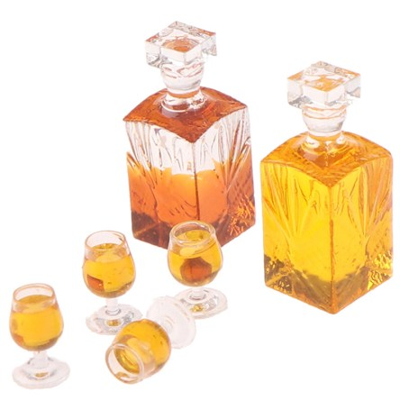 Miniature Wine Bottle & Glass Dollhouse Crafting Accessory