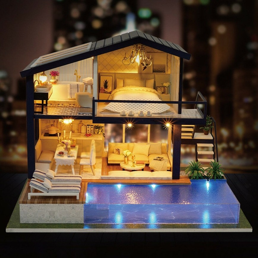 DIY Miniature Wooden Summer Dollhouse with Pool Crafting Kit