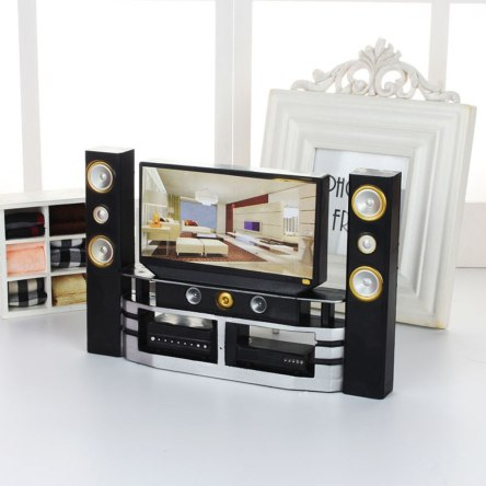 Miniature T.V with Surround Sound Stereo Display Dollhouse Furniture