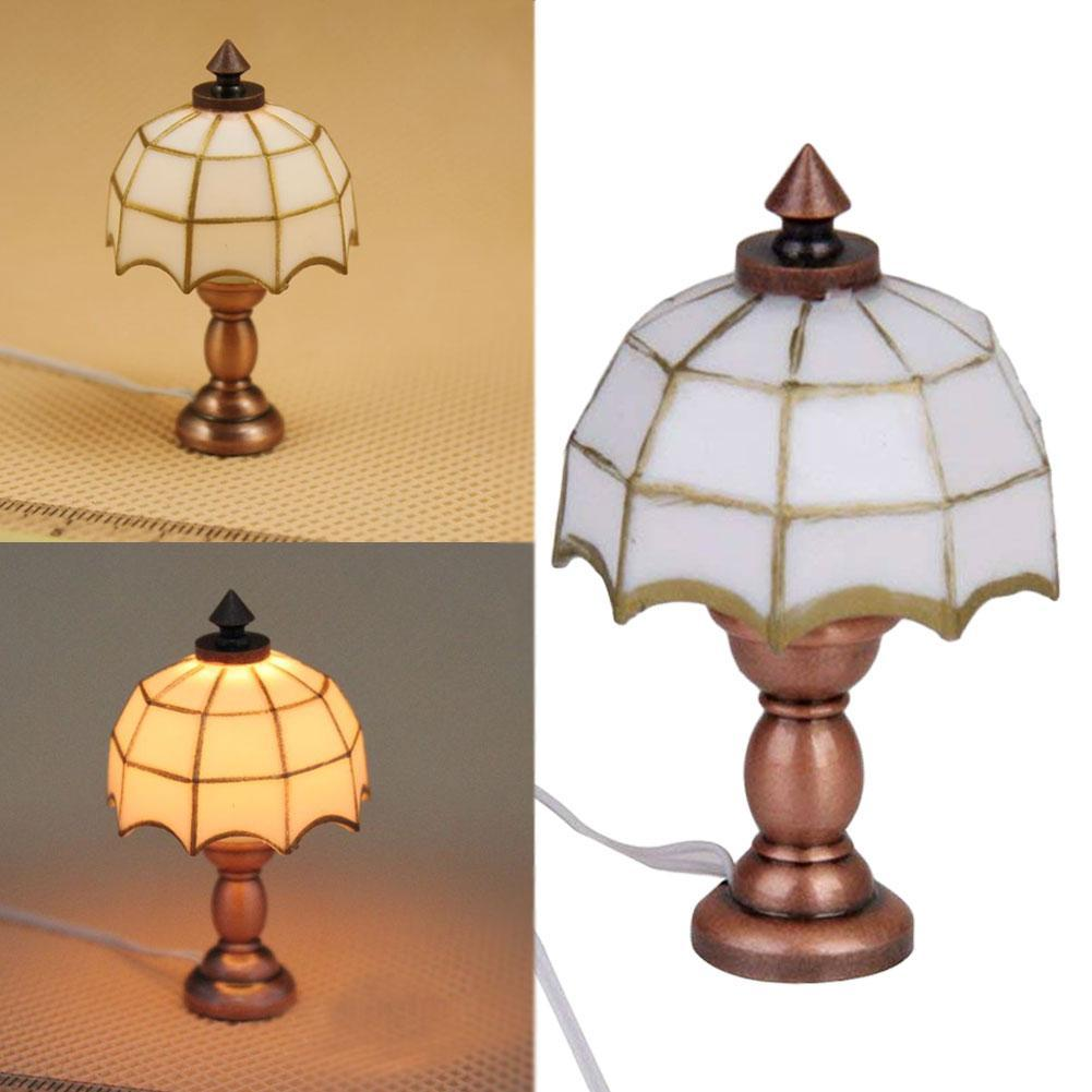 HURRICANE BATTERY COPPER TABLE LAMP SHADE T12 MINIATURE DOLLHOUSE 1:12 SCALE