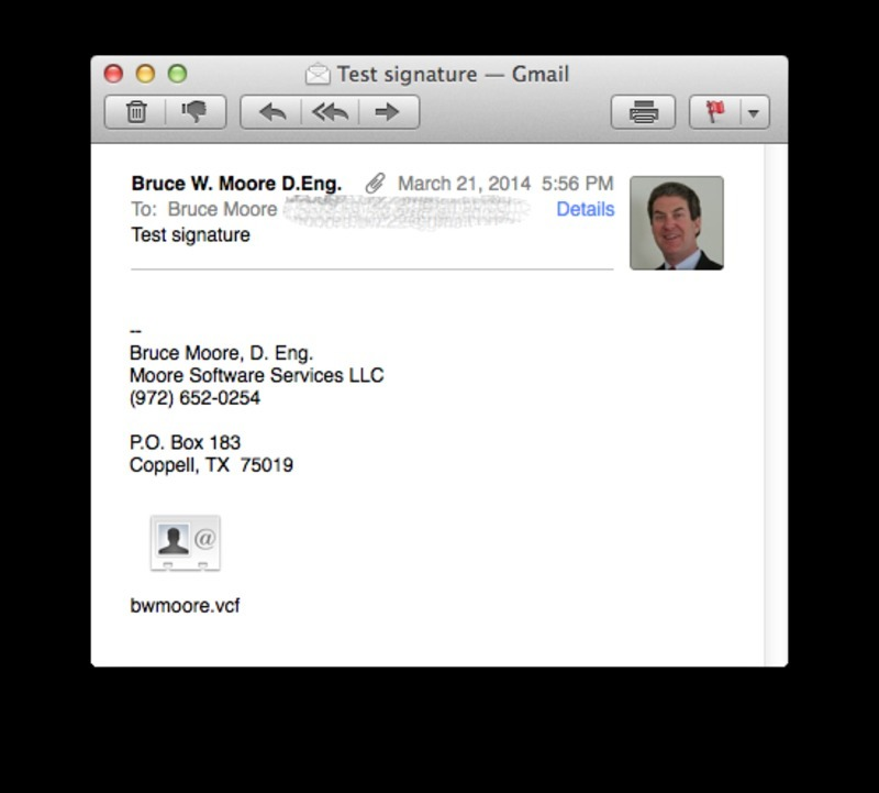 Screen capture of Apple OS X default email display, which hides S/MIME certificate information.