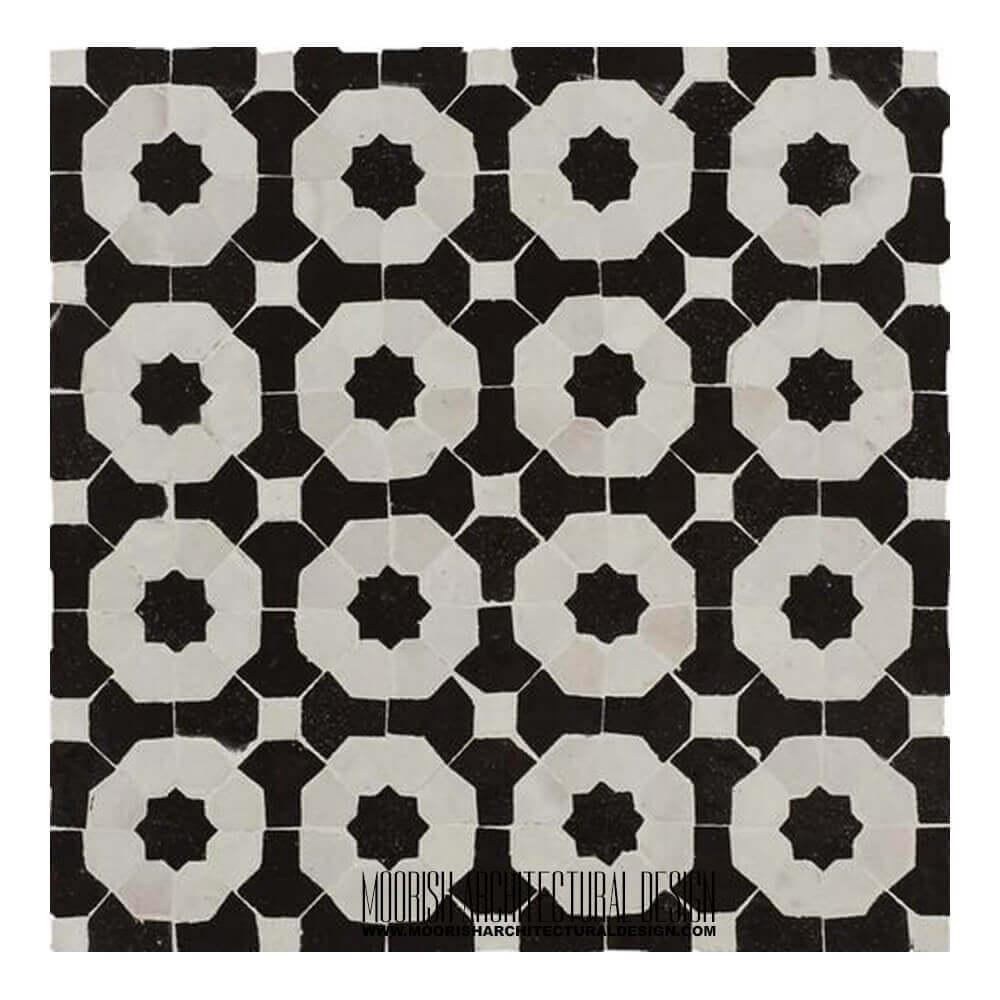 black white moroccan kitchen tile