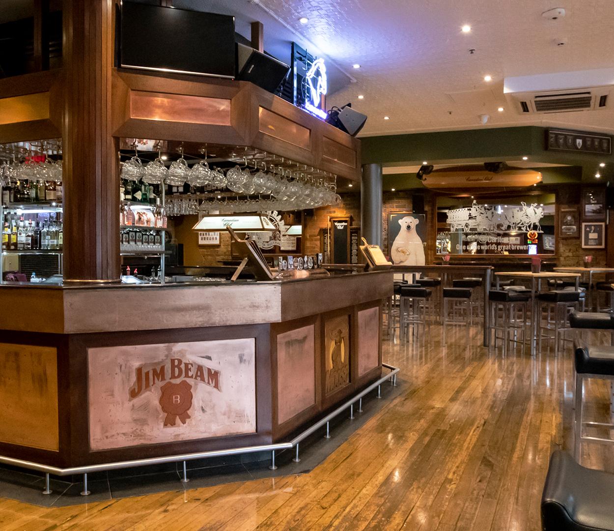 Landscape image showcasing the Mooseheads pub layout