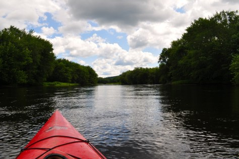 View of the Upper Andro looking downstream in a kayak.