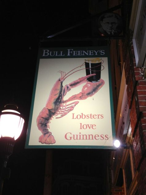 "Bull Feeney's assures us that, ""Lobsters Love Guinness"""