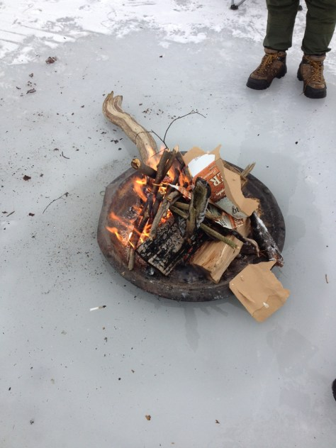 A good ice fire is a welcome pleasure of ice fishing.