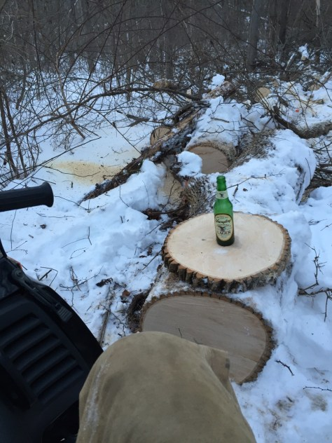 Enjoying a Yuengling after clearing trails.