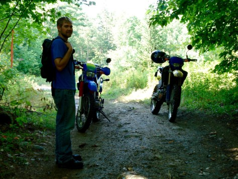 Brandon on the trail with both of our bikes circa 2008.