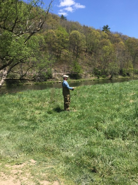 Mark practices casting his new Cabela's Fly Rod on the banks of the West Branch.