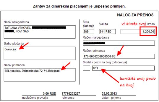 BELhospice donacija Tatjana Vehovec