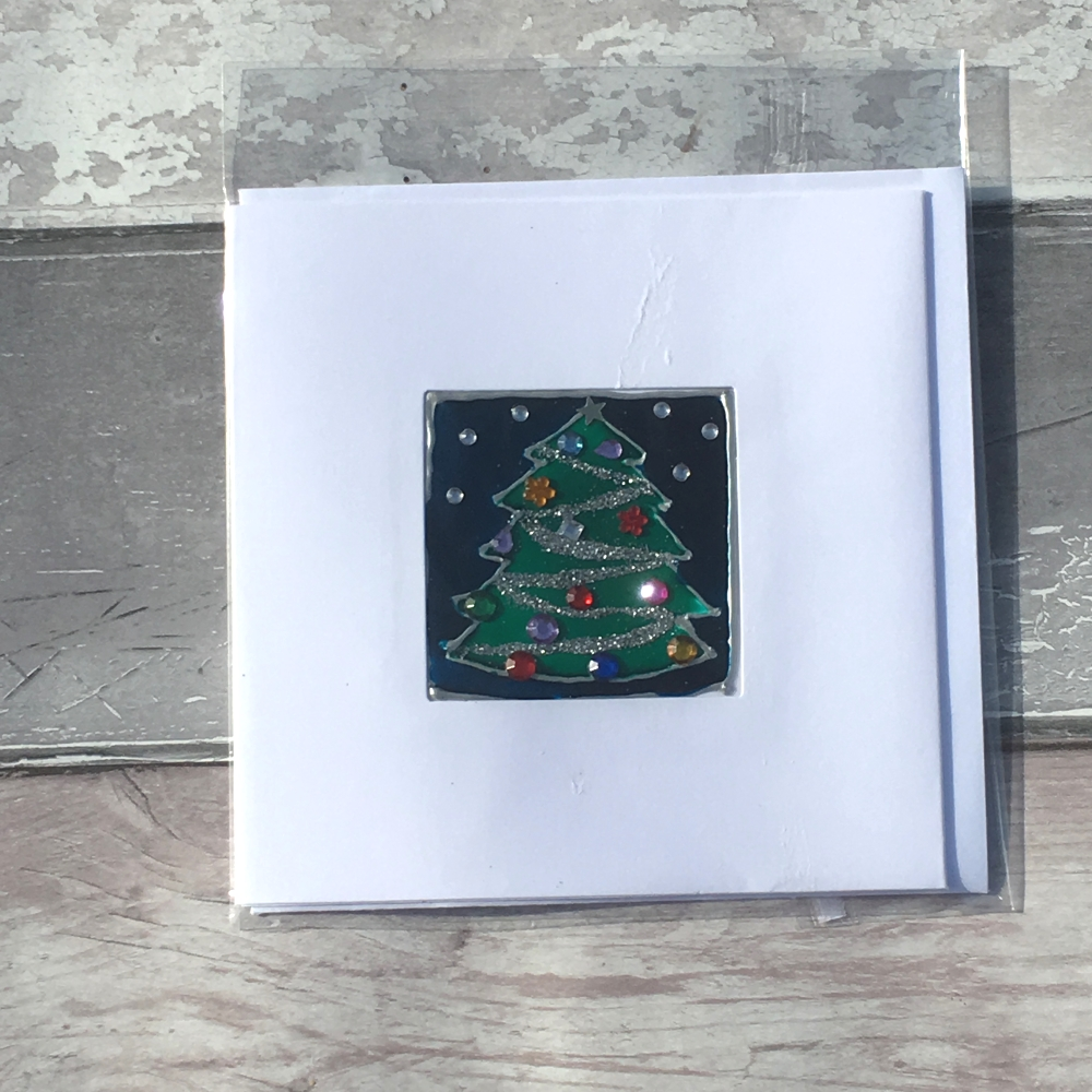 Stained glass tree handmade Christmas card