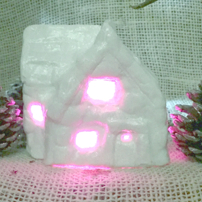 Handmade plaster Christmas light-up cottage, finished - Mooshkin