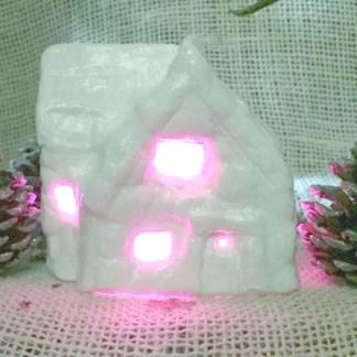 Handmade plaster Christmas light-up cottage, finished - Mooshkin
