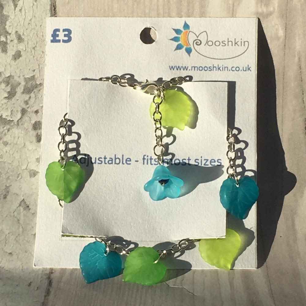'springtime at the seaside' leaf bracelet