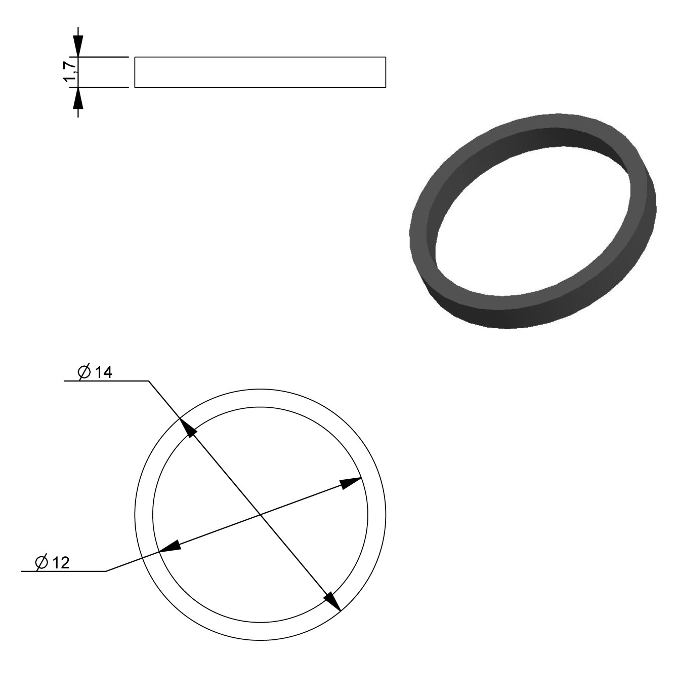 Drive Belt Inner Diameter 12 00mm Outer Diameter 14 00mm Rubber Height 1 700mm Ref