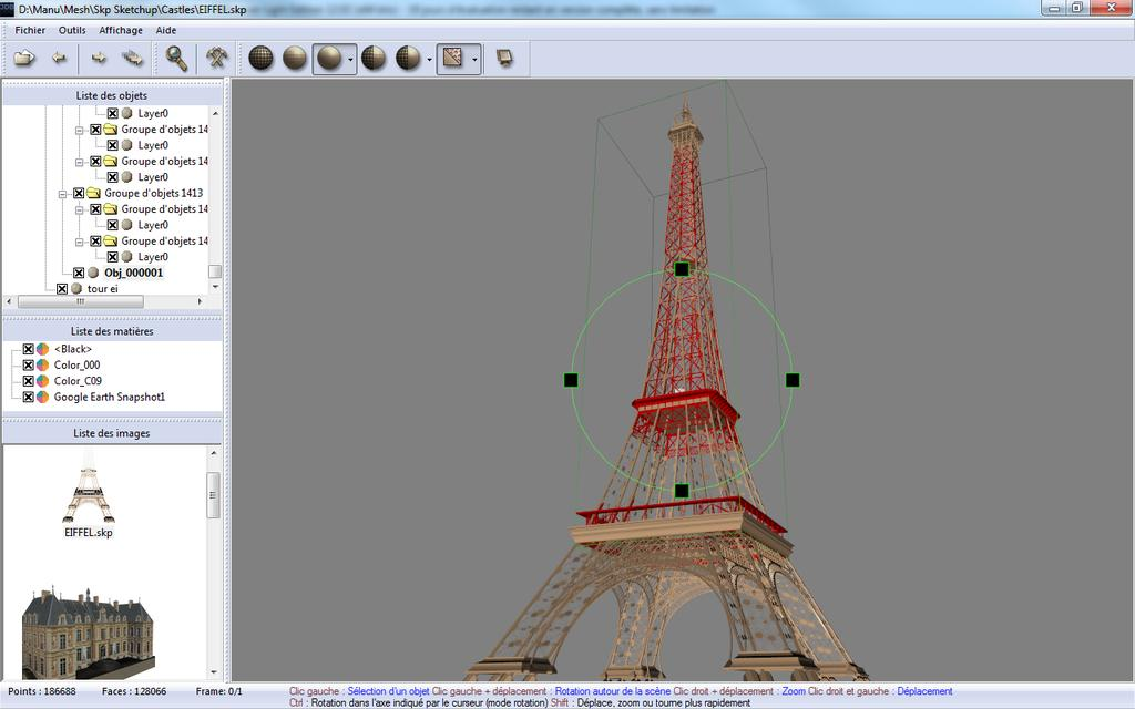 Main 3DBrowser window displaying 3D files contained in several folders and filtering this content. In this view it shows only the zip, skp and 3ds files. Note that 3DBrowser also previews zip files when it contains an image or a scene.