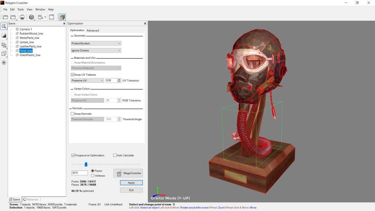Polygon Cruncher is included in 3DBrowser. This mesh optimizer allows to simplify million of polygons scene. It keeps textures, normals and vertex painting. A batch module is also available.