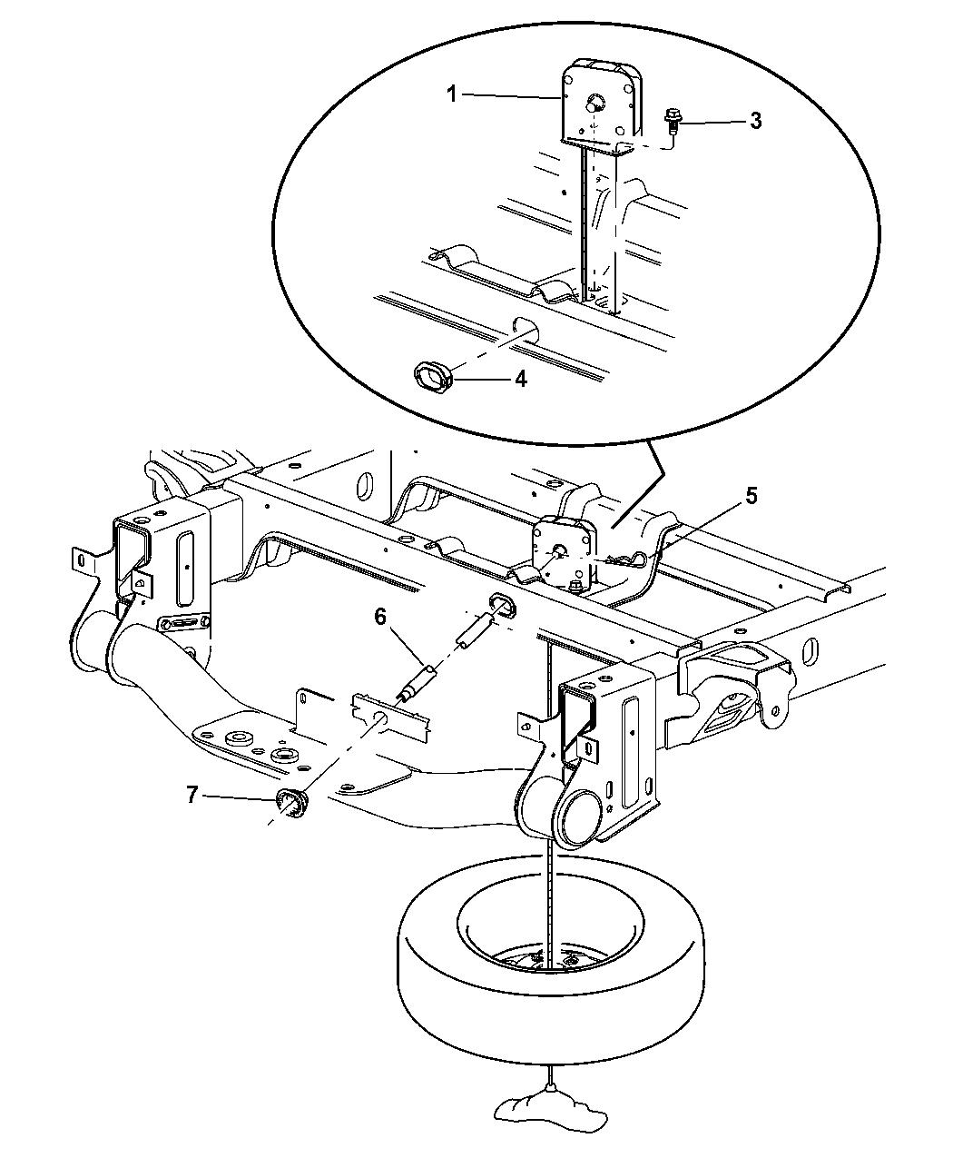 Dodge Ram Pickup Spare Wheel Underbody Mounting