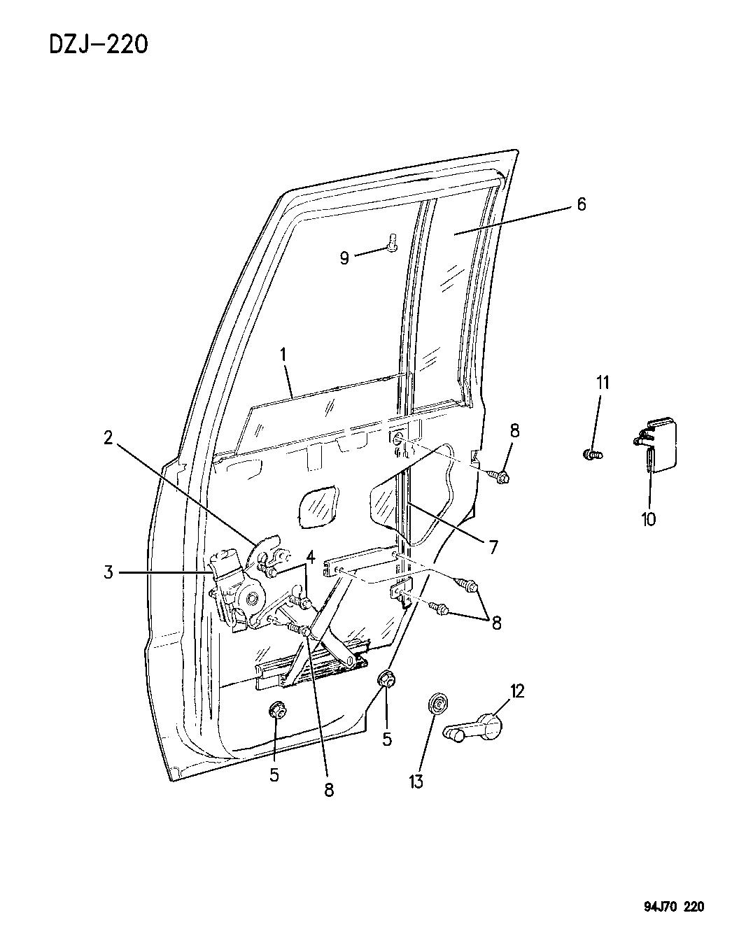 Jeep Grand Cherokee Door Rear Glass Amp Regulator