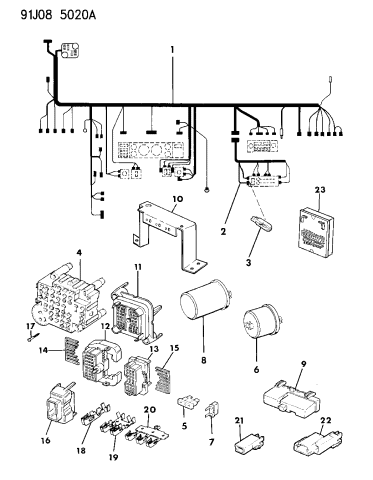 1992 jeep comanche wiring  instrument panel  mopar parts giant