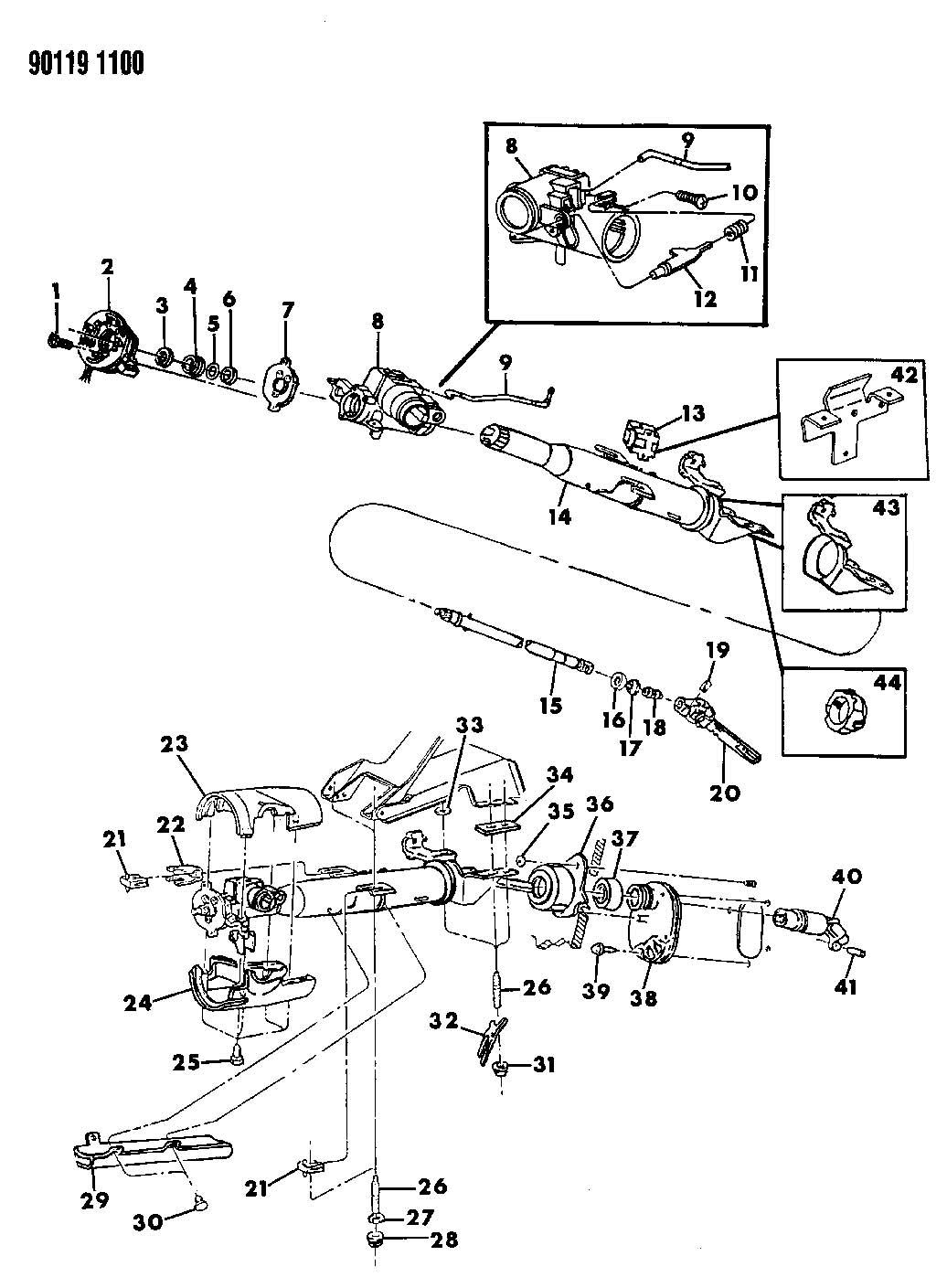 Dodge Dakota Bearing Bearing Column Shaft Bearing Column Shaft Upper Bearing
