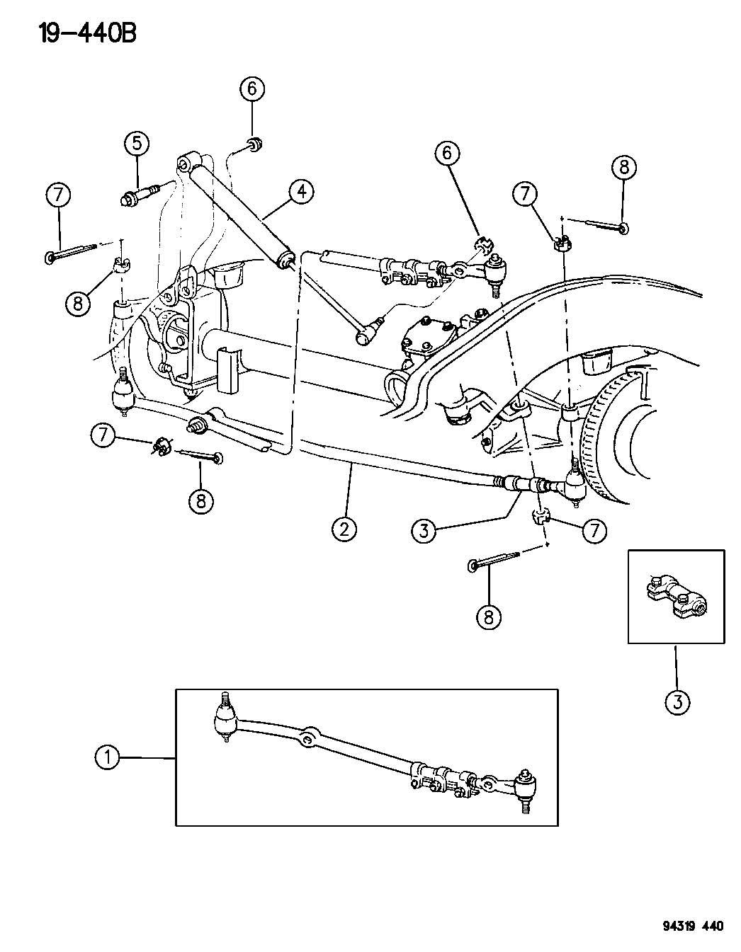 Chrysler Aspen Socket Tie Rod Inner Outer Drag Link Steering
