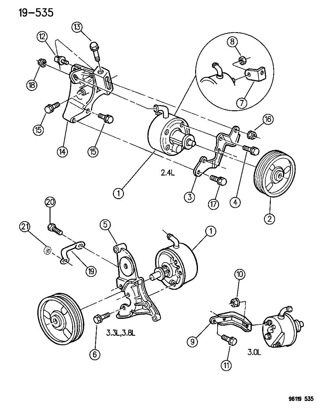 Dodge Caravan Pulley Power Steering Pump Ribbed