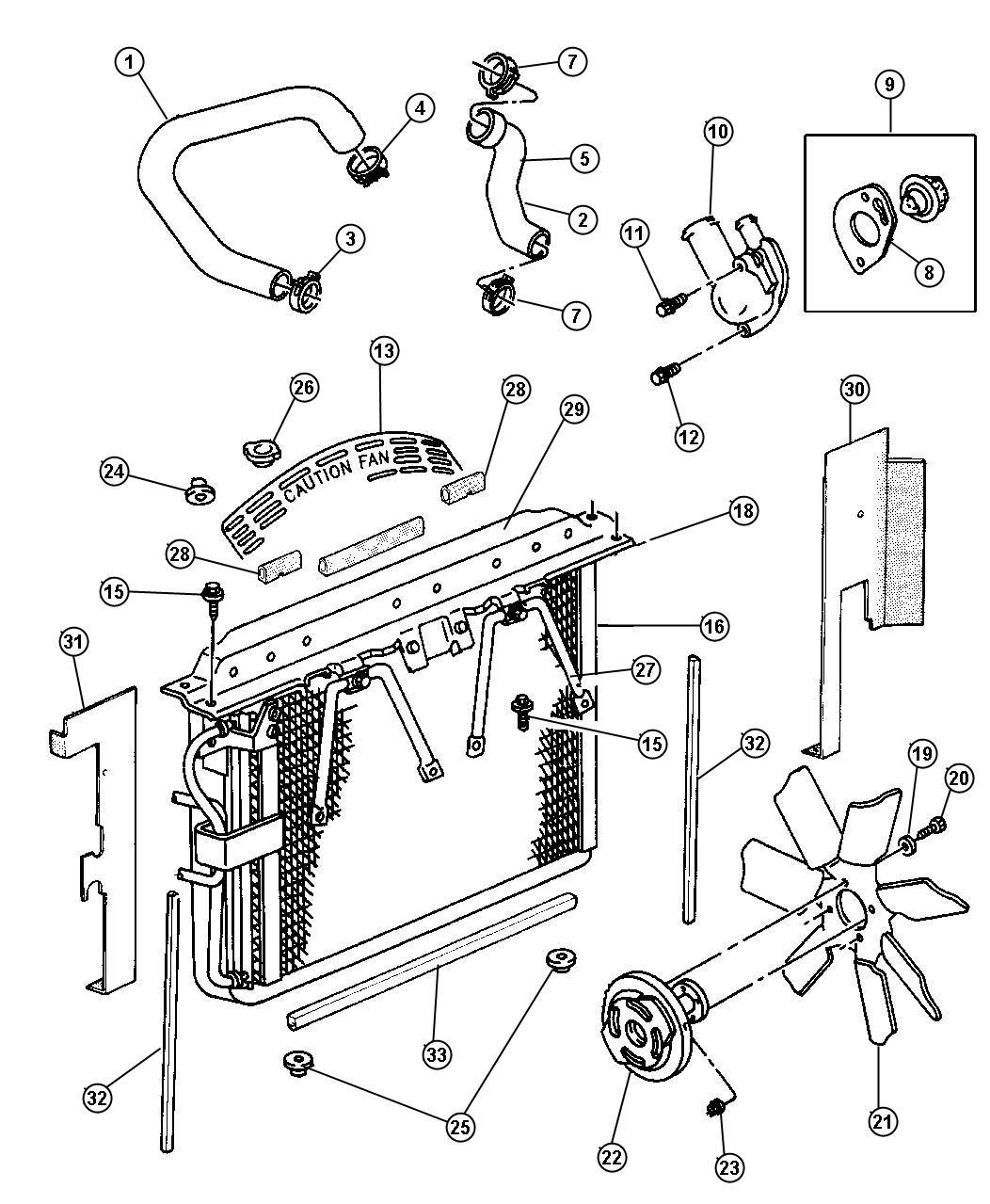 Dodge Ram Shroud Fan Engine Related Radiator