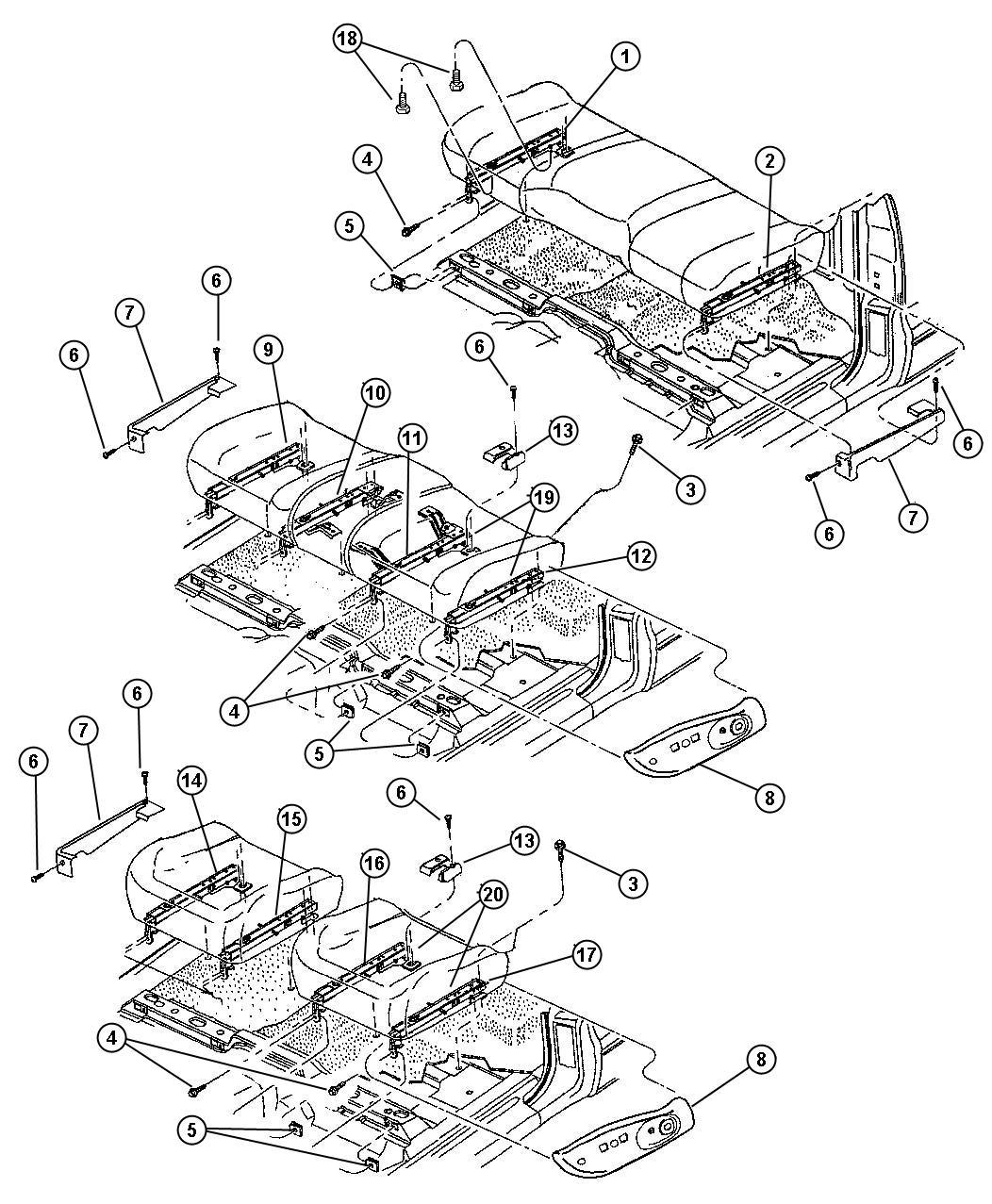 Dodge Dakota Adjuster Power Seat Driver Bucket Driver