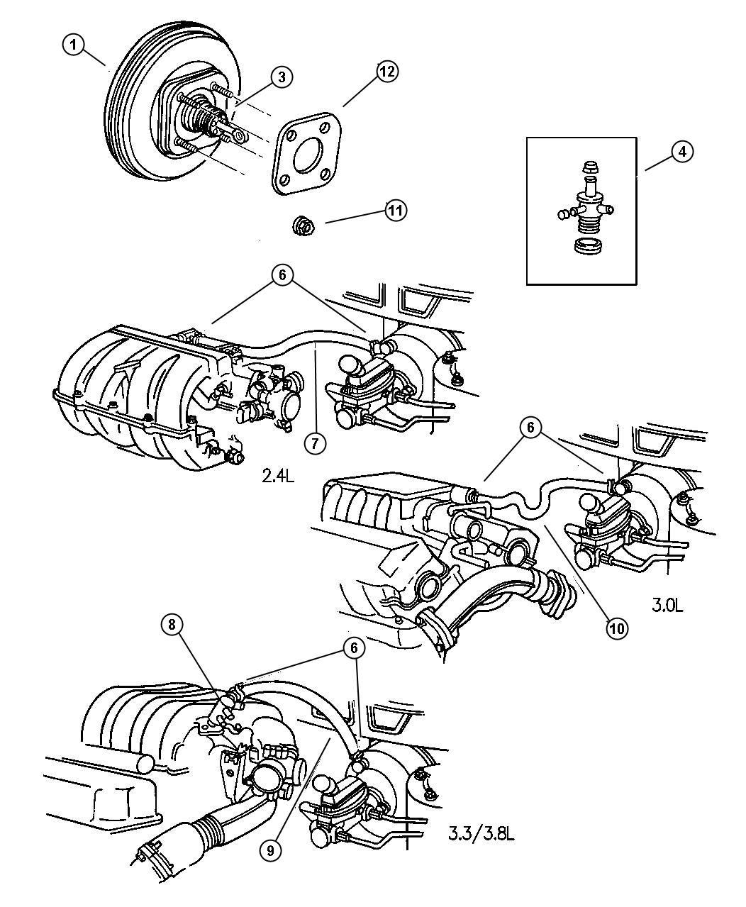 Dodge Caravan Booster Power Brake Disc Front Rear