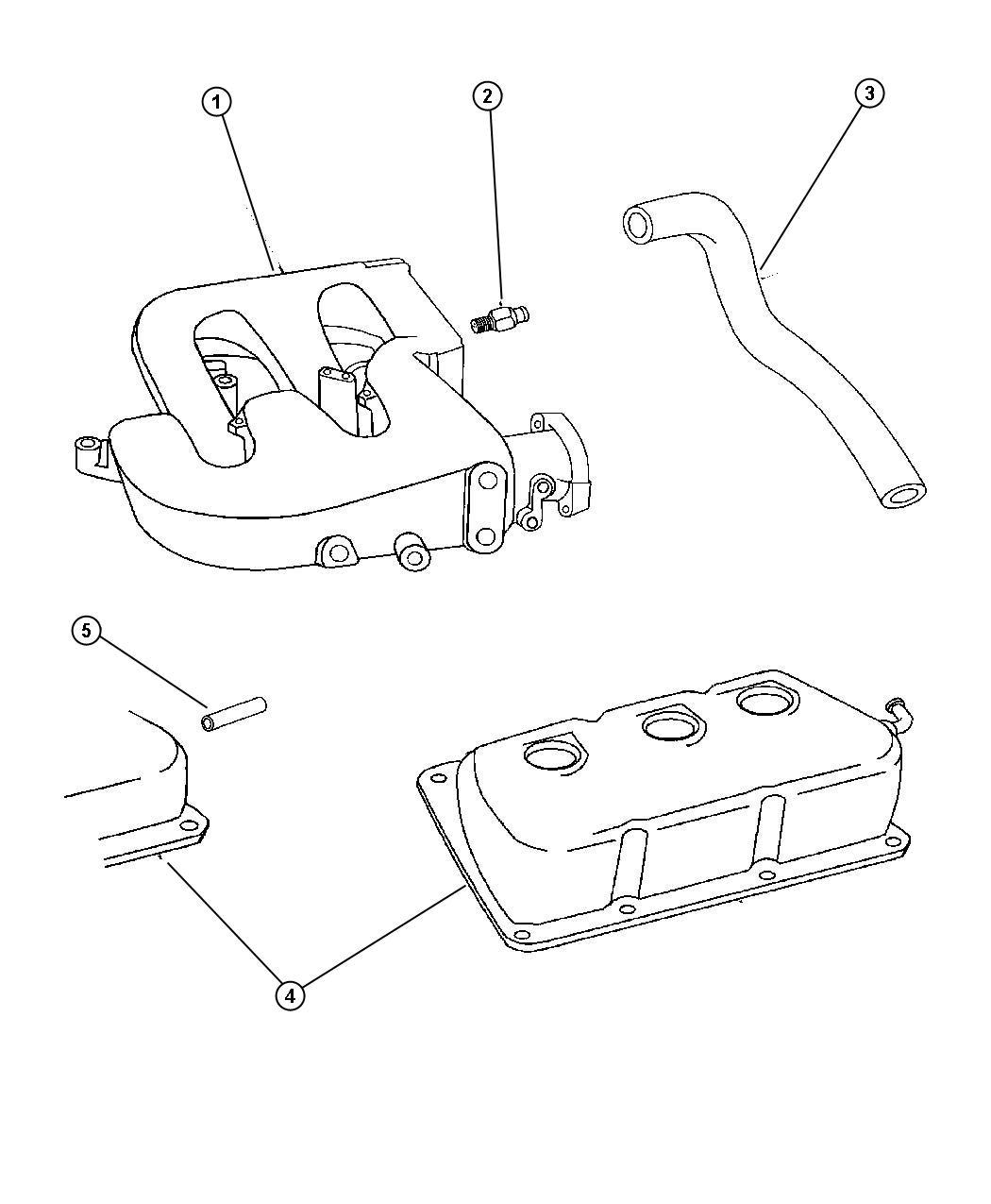 Dodge Intrepid Tube Pcv Valve Pcv Cylinder Head Cover To