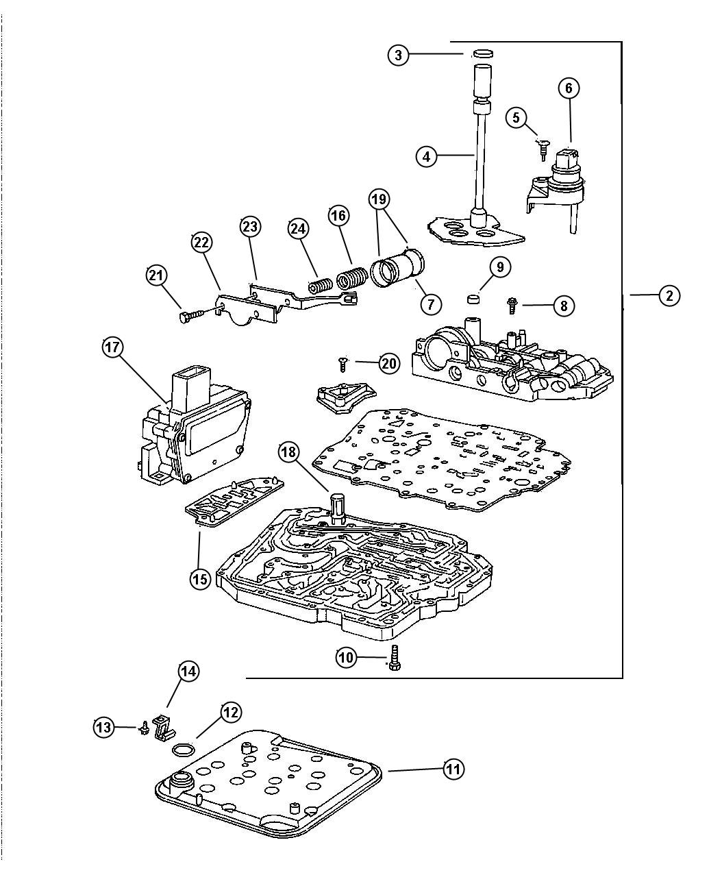 Chrysler Concorde Sensor Package Manual Valve Lever