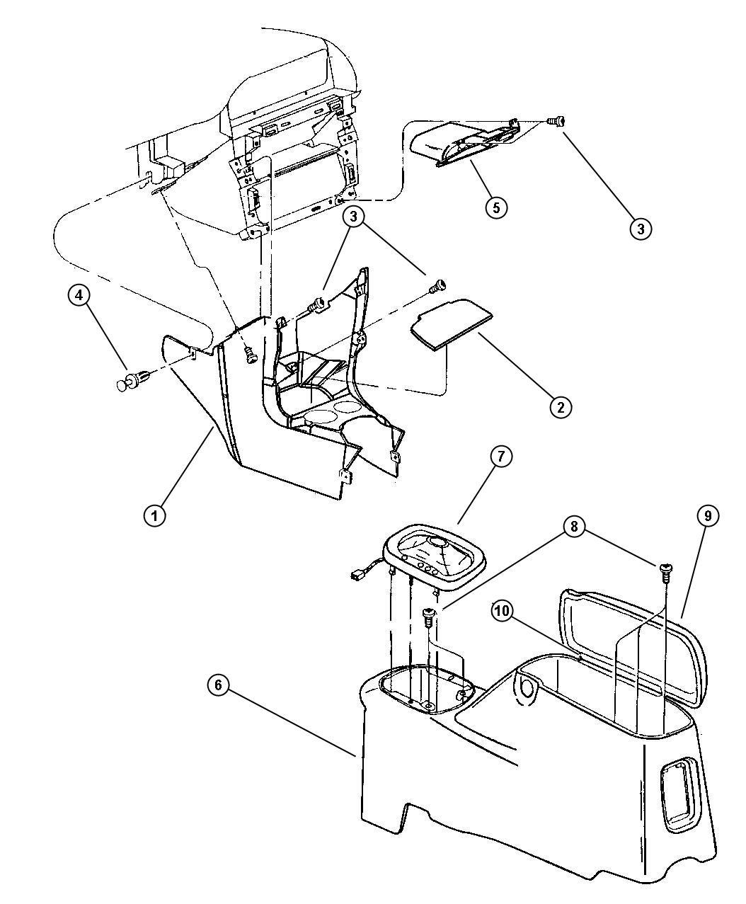 Chrysler Sebring Console Forward Az Agate Trim