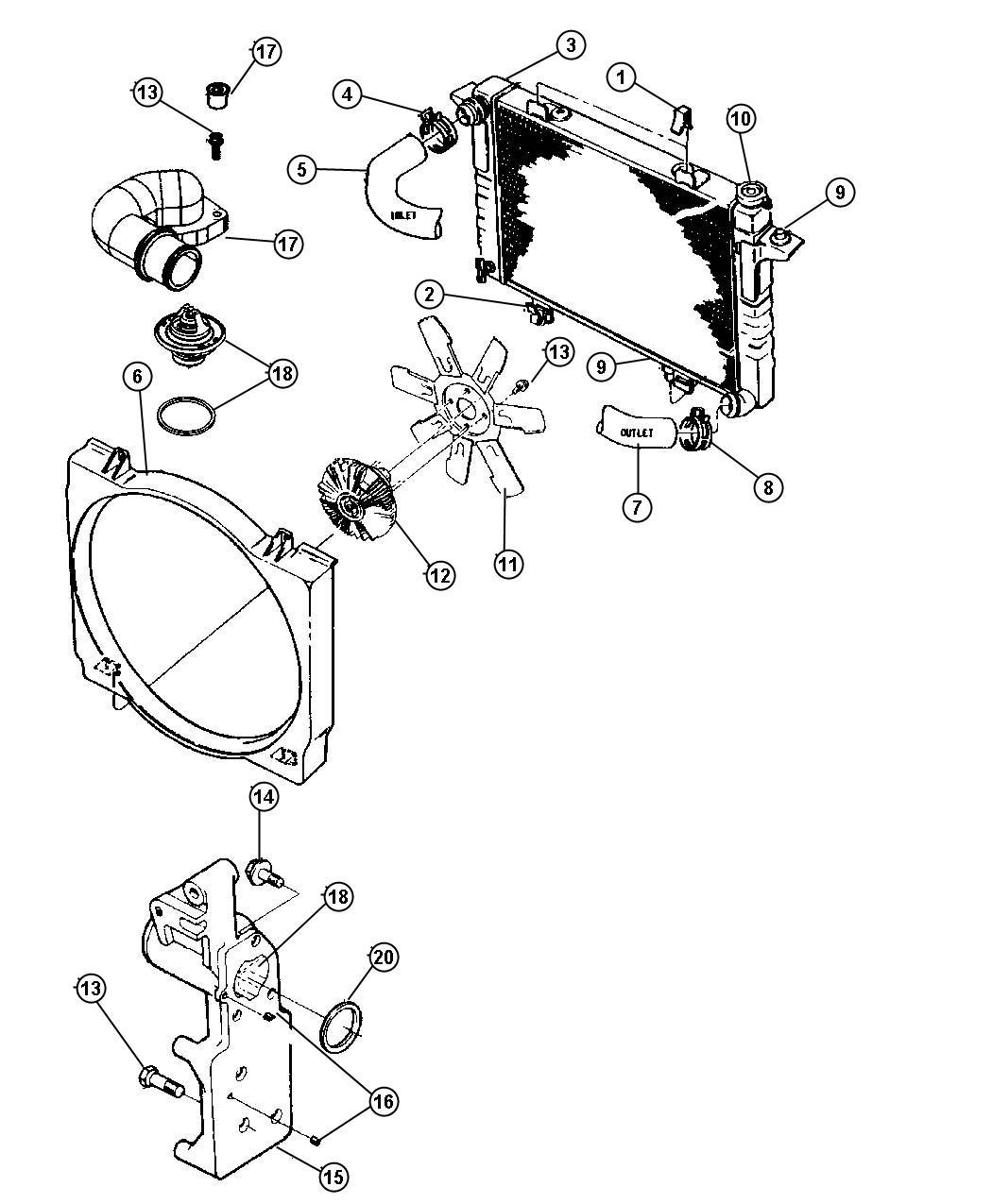 Dodge Ram Hose Radiator Inlet Enginesel