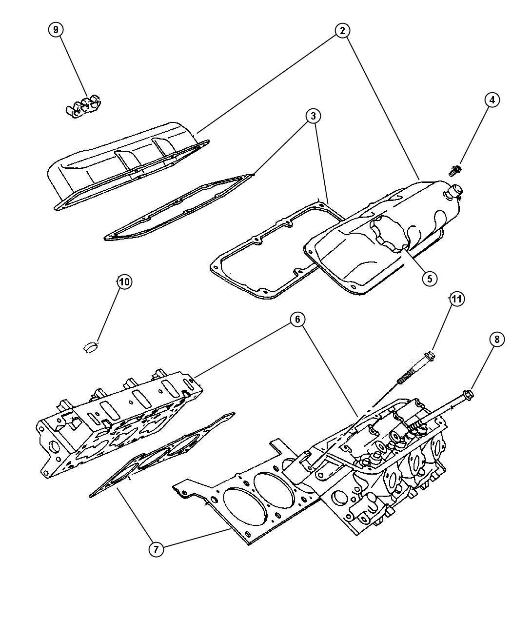 Dodge Caravan Gasket Cylinder Cover Valve Cover