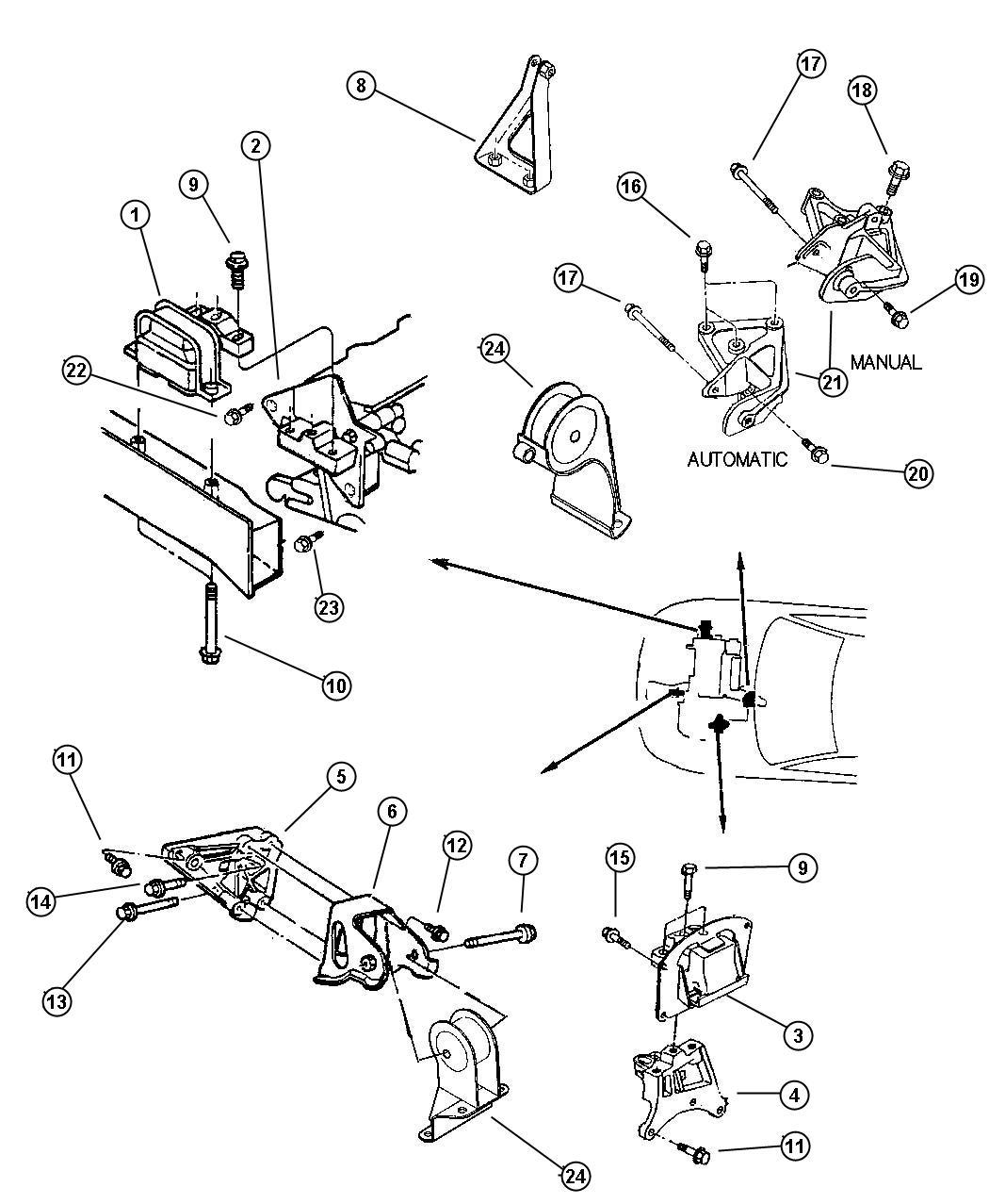 Dodge Caravan Module Engine Support Rear Mounts Fuel Front