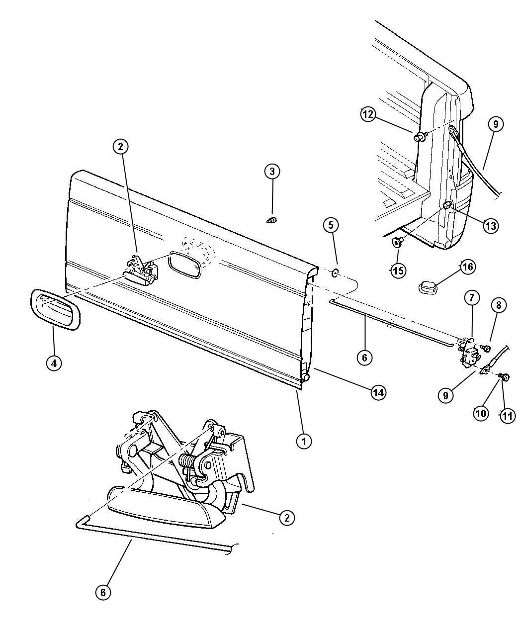 Dodge Dakota Bezel Tailgate Handle Body Wiring
