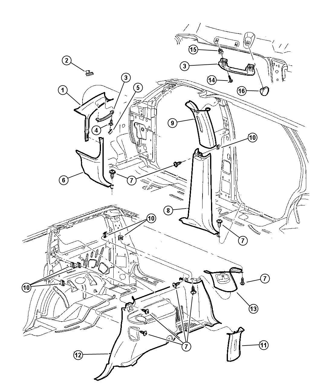Chrysler Voyager Screw Pan Head M6x1x20 Strut Dash To