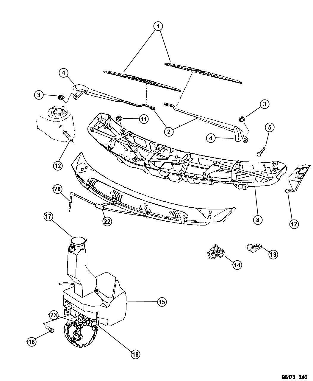 Dodge Grand Caravan Nozzle Washer Windshield Body