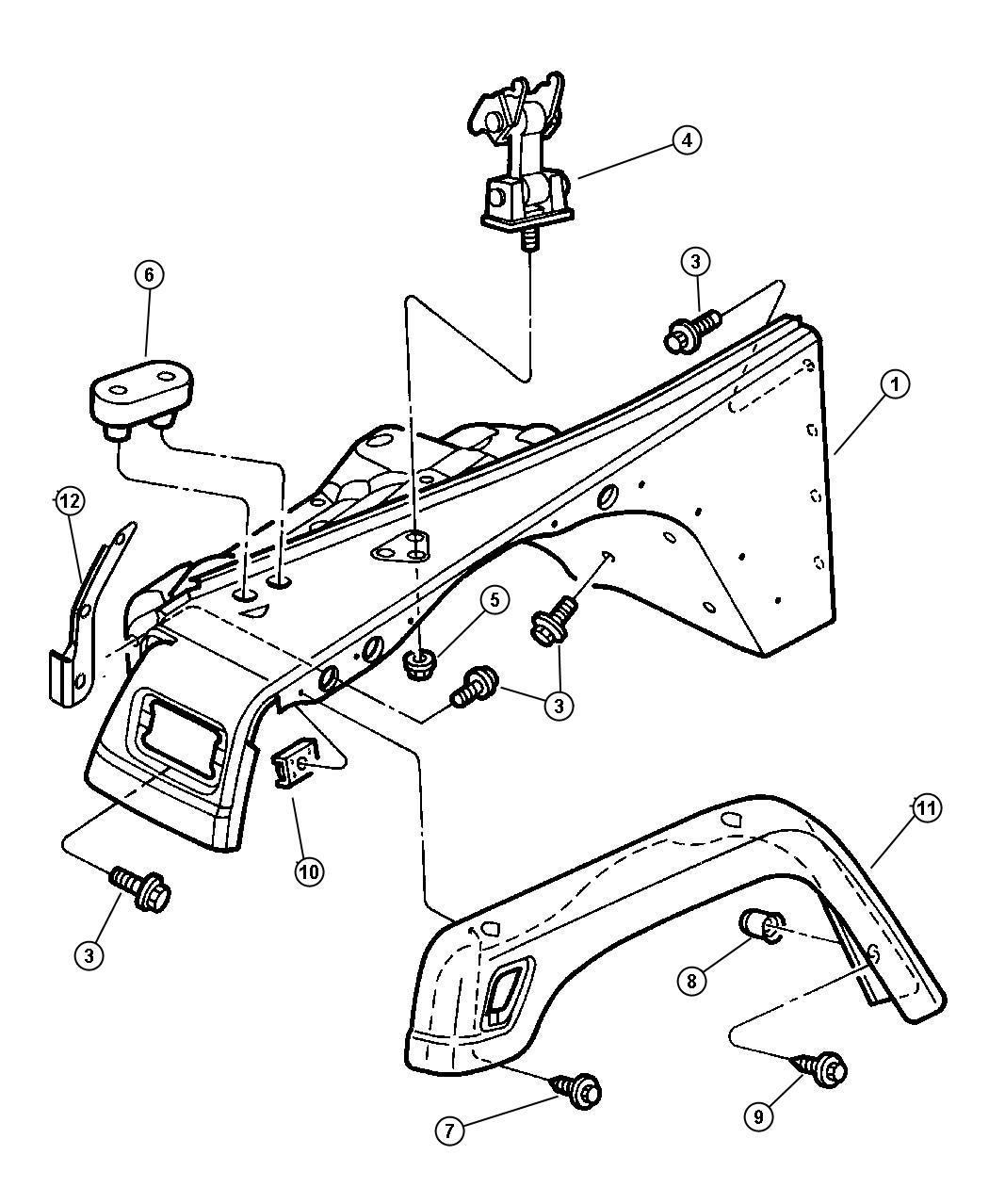 Jeep Wrangler Shield Front Splash Engine Flare