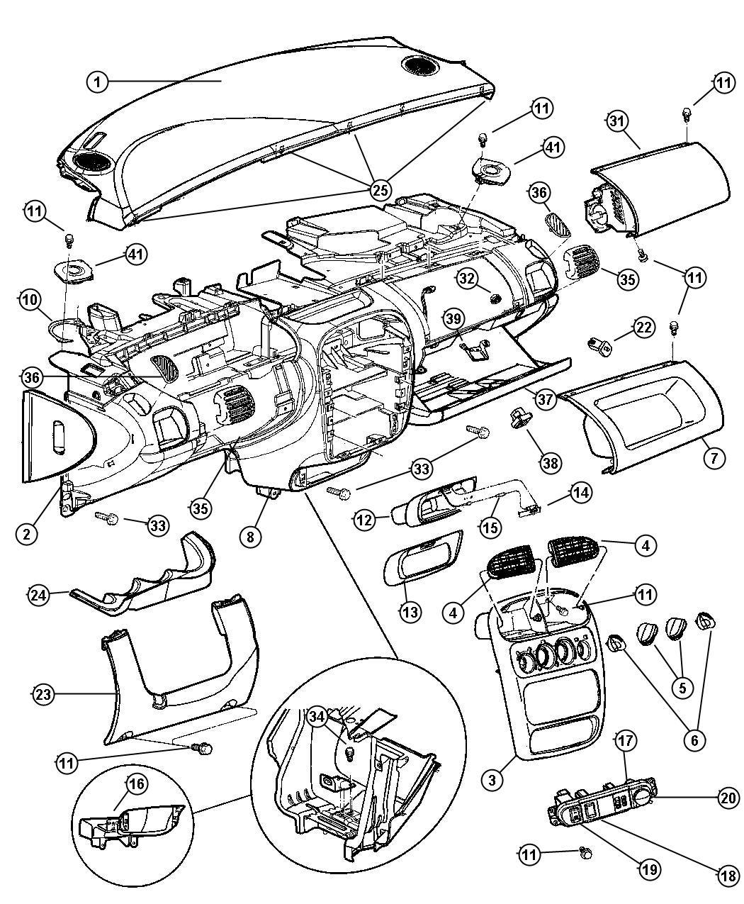 Chrysler Sebring Bumper Glove Box Door Glove Box