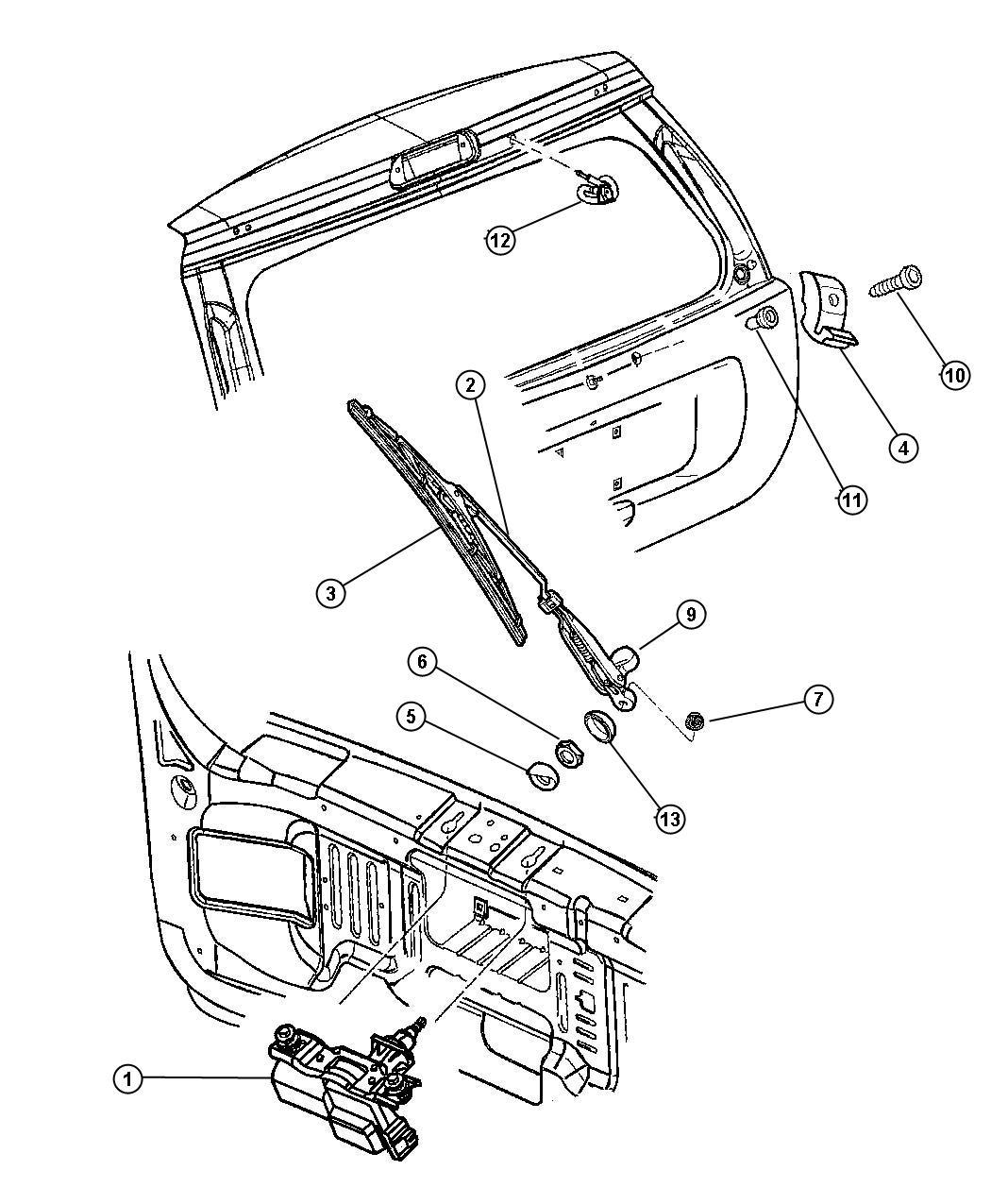 Jeep Grand Cherokee Motor Windshield Wiper Rear