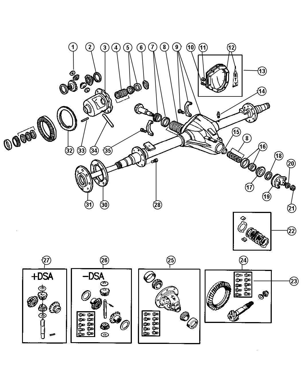 Jeep Wrangler Yoke Axle Rear Dana Differential